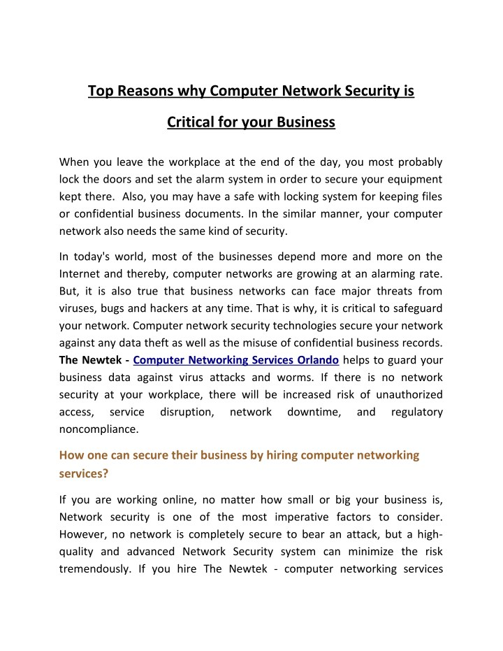 top reasons why computer network security is n.