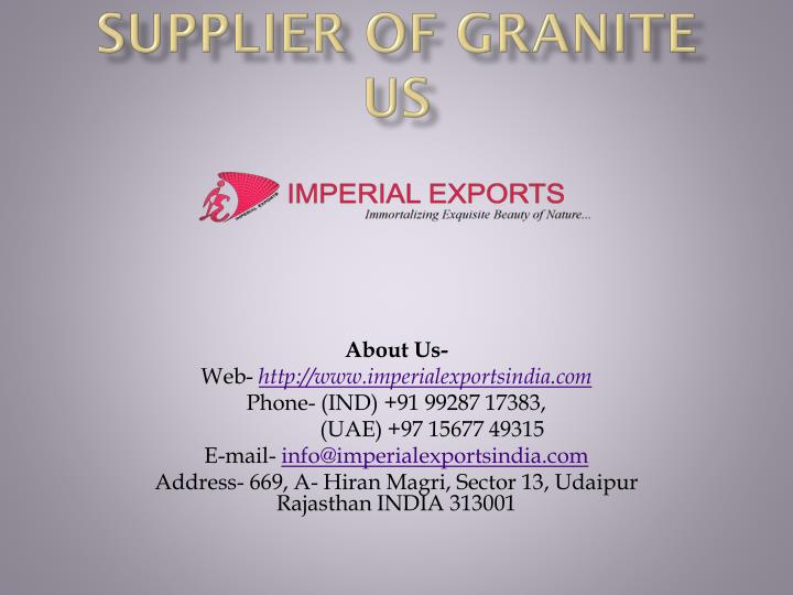 supplier of granite us n.