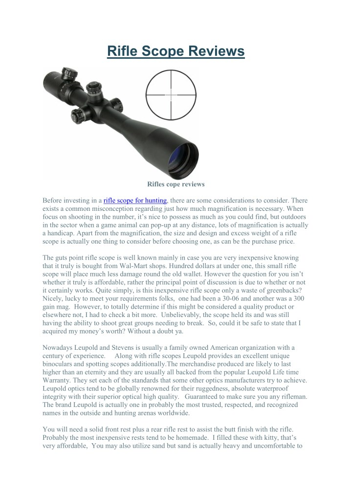 rifle scope reviews n.