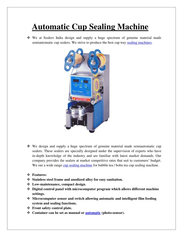automatic cup sealing machine n.