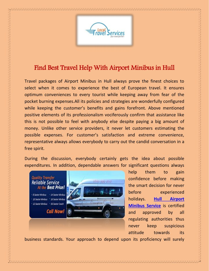 find best travel help with airport minibus in hull n.