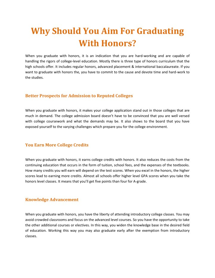 why should you aim for graduating with honors n.