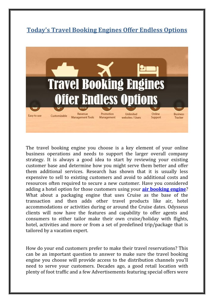 today s travel booking engines offer endless n.