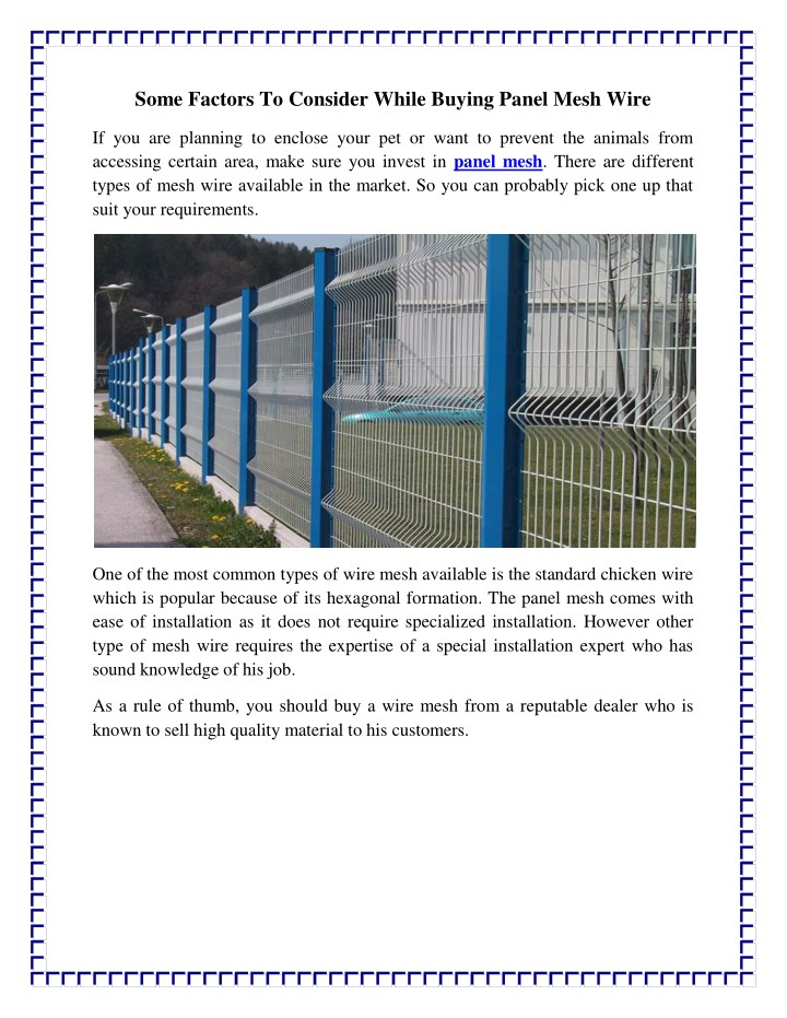 some factors to consider while buying panel mesh n.