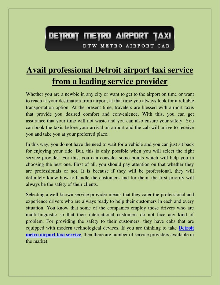 avail professional detroit airport taxi service n.