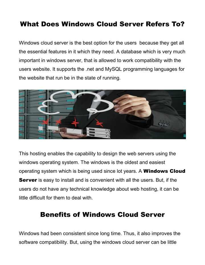 what does windows cloud server refers to n.
