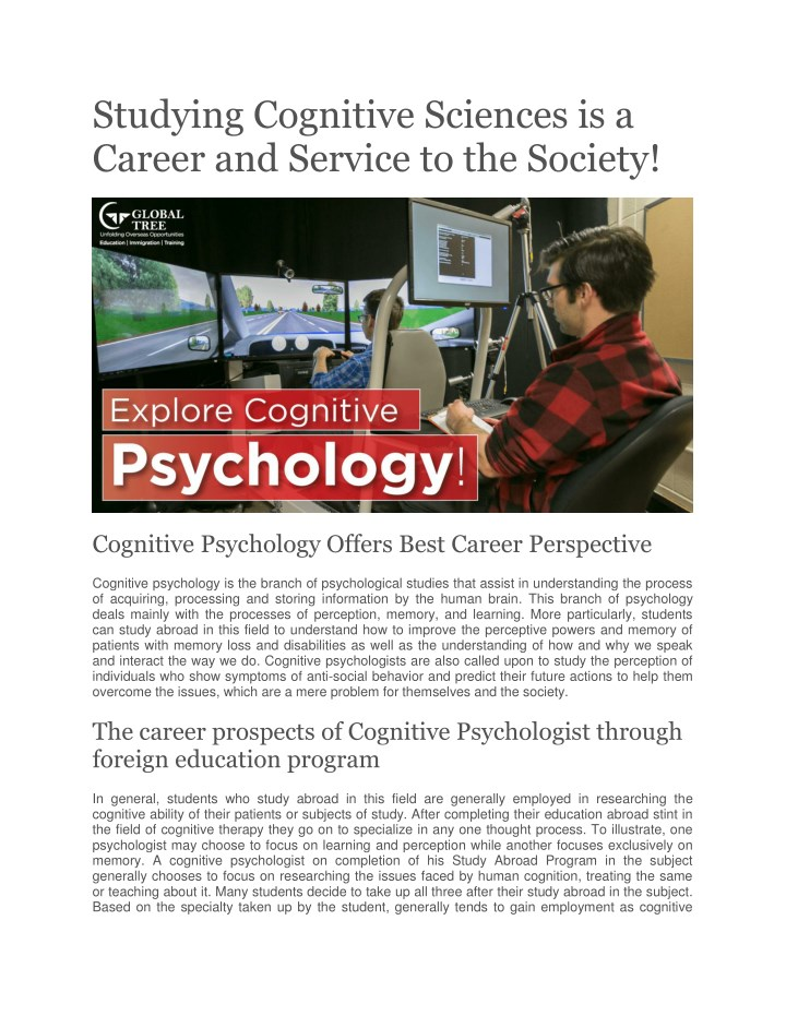 studying cognitive sciences is a career n.