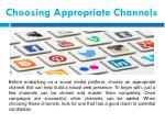 choosing appropriate channels