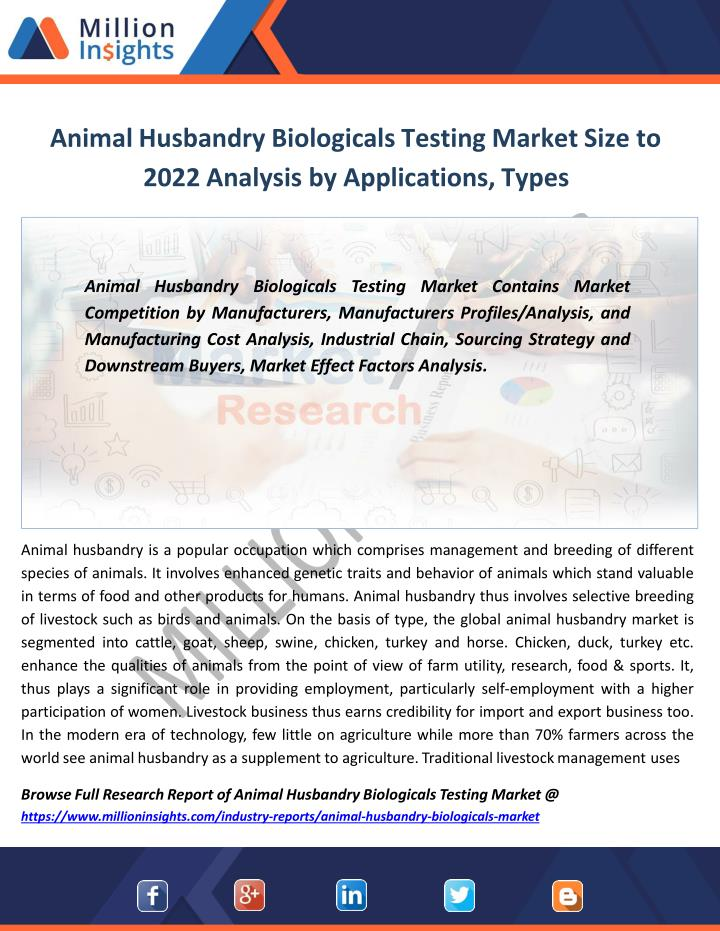 animal husbandry biologicals testing market size to 2022 analysis by applications types n.