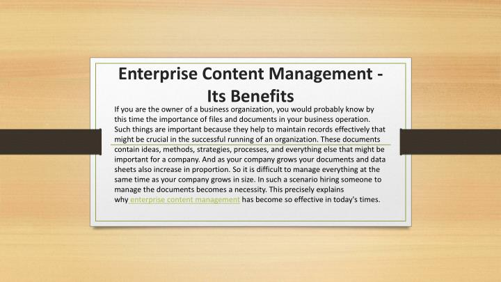 enterprise content management its benefits n.