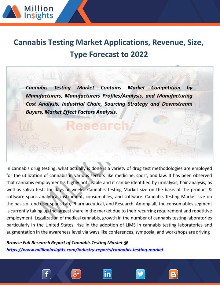 cannabis testing market applications revenue size type forecast to 2022 n.