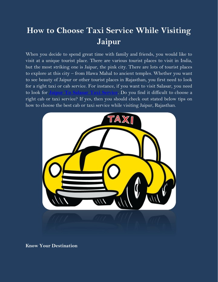 how to choose taxi service while visiting jaipur n.