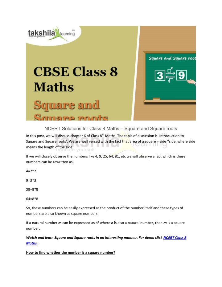 PPT - Square & Square roots-NCERT Solutions Class 8 Maths