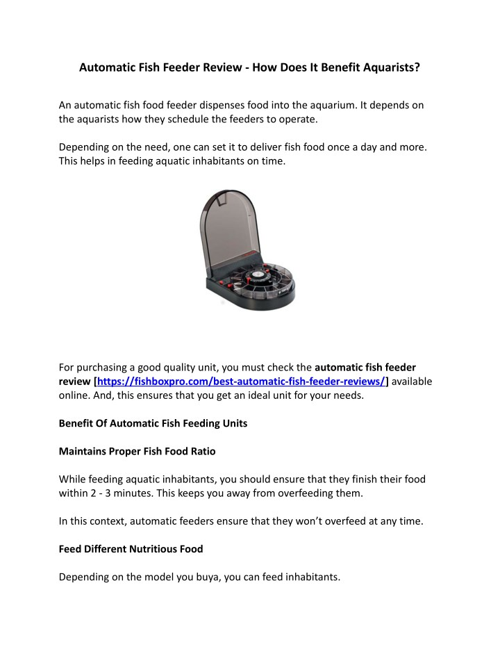 automatic fish feeder review how does it benefit n.