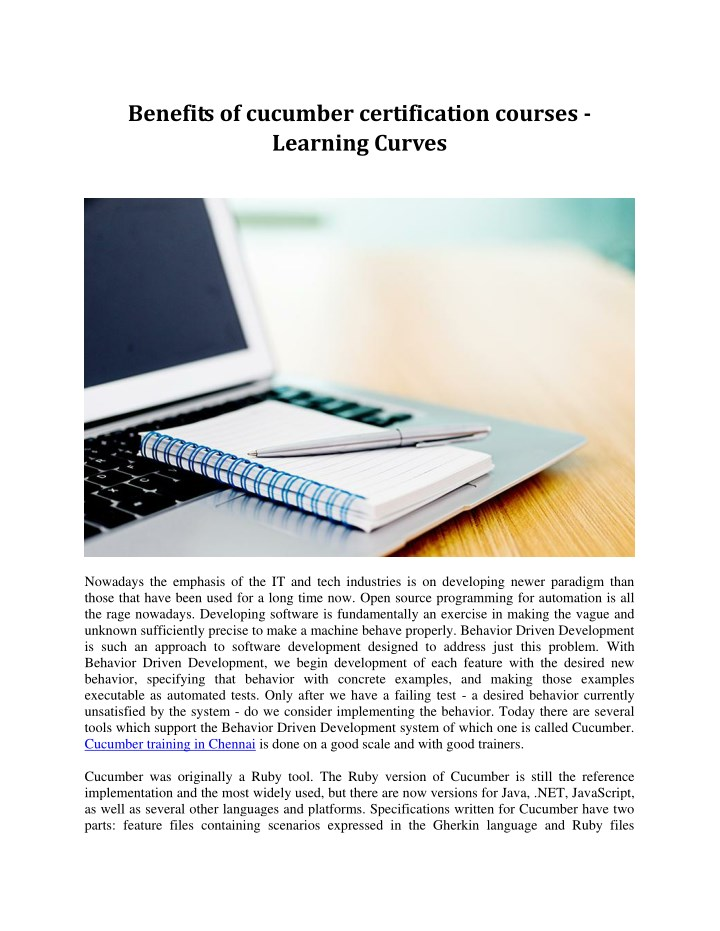 benefits of cucumber certification courses n.