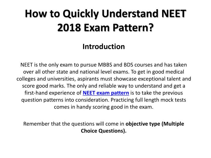 how to quickly understand neet 2018 exam pattern n.