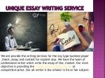 unique essay writing service