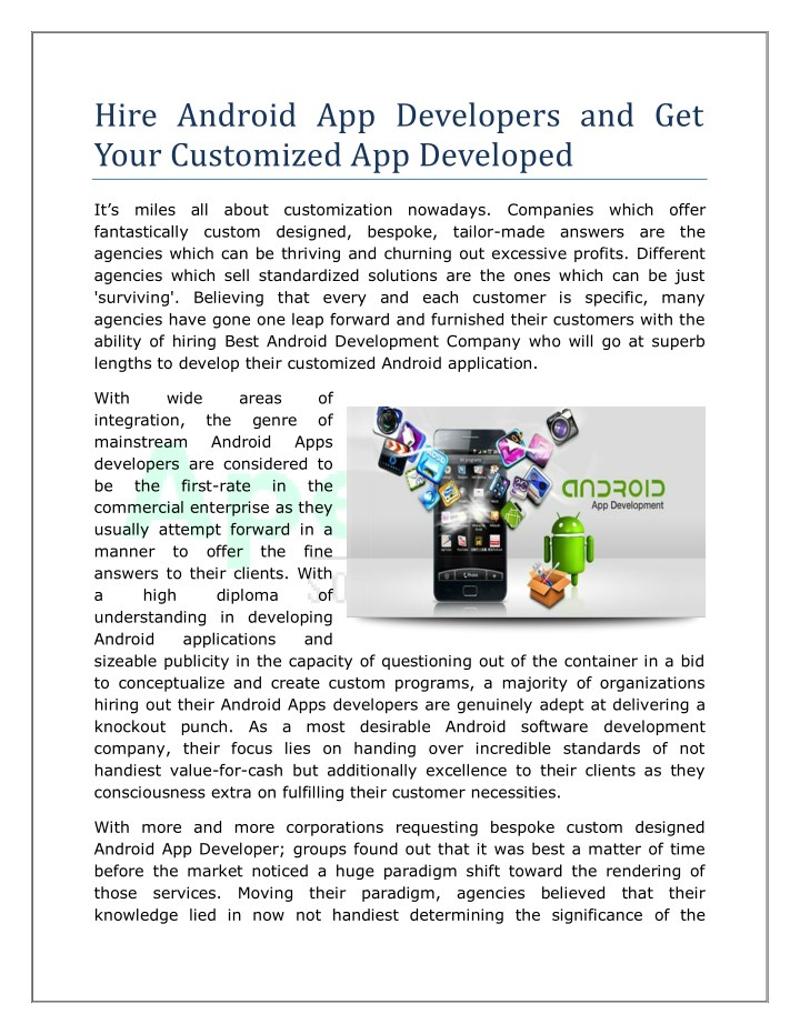 hire android app developers and get your n.