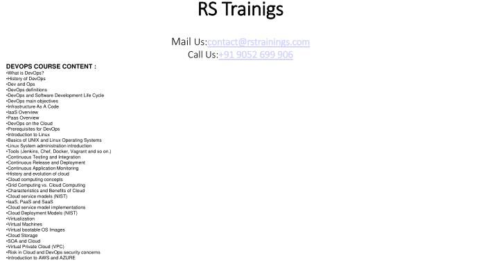 rs trainigs mail us contact@rstrainings com call us 91 9052 699 906 n.