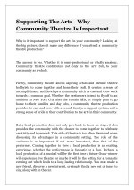 supporting the arts why community theatre