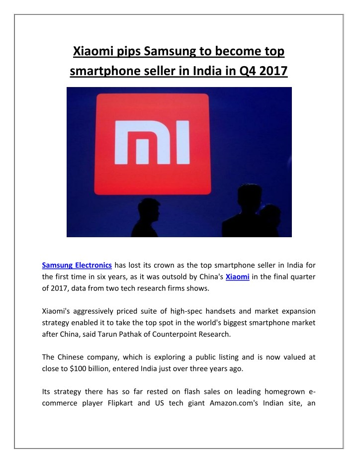 xiaomi pips samsung to become top smartphone n.