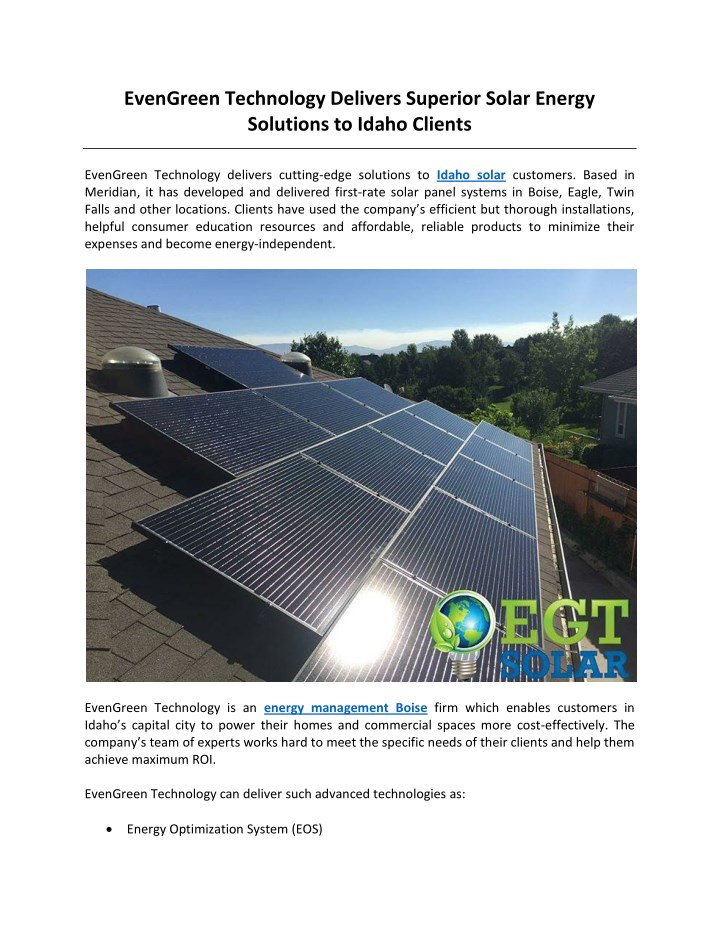 evengreen technology delivers superior solar n.