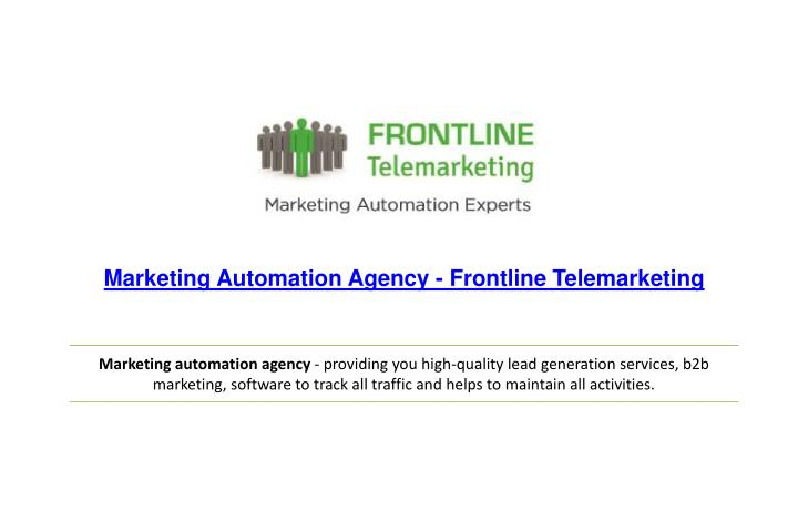 marketing automation agency frontline n.