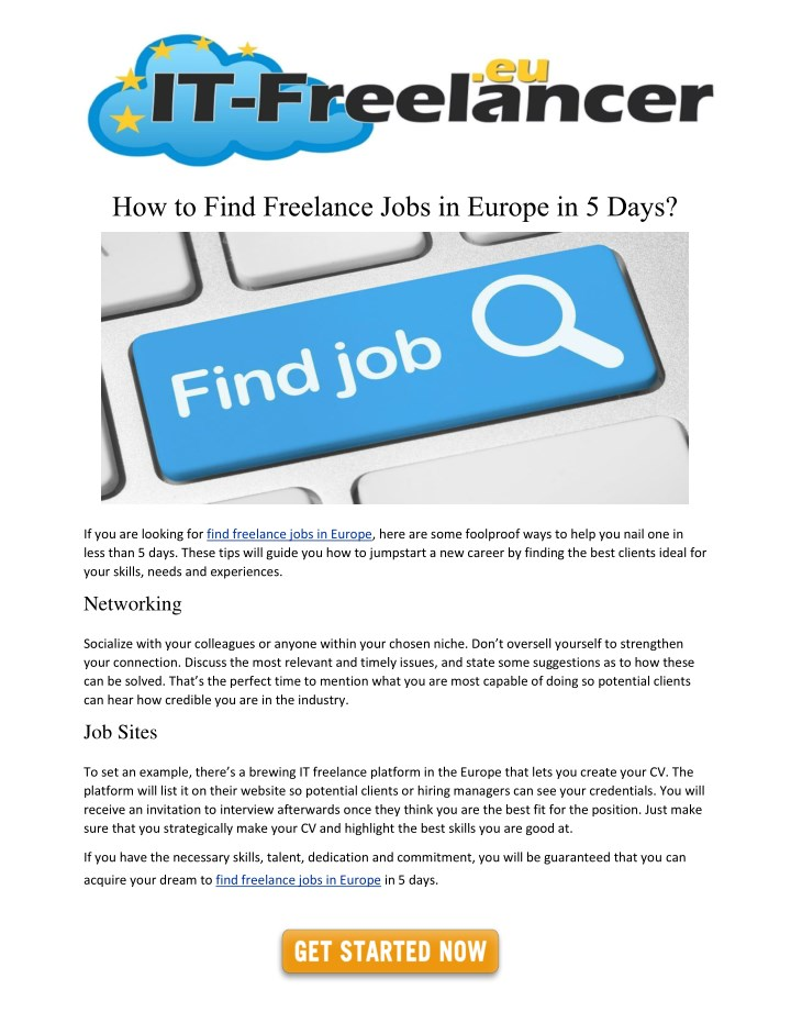 Ppt How To Find Freelance Jobs In Europe In 5 Days