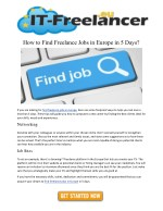 how to find freelance jobs in europe in 5 days