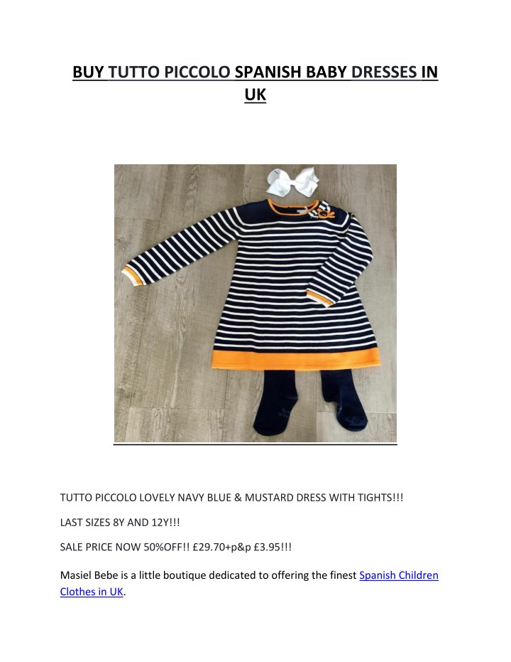 buy tutto piccolo spanish baby dresses in uk n.