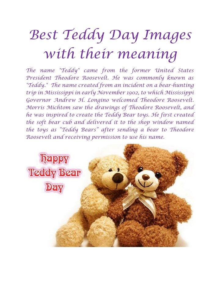 best teddy day images with their meaning n.