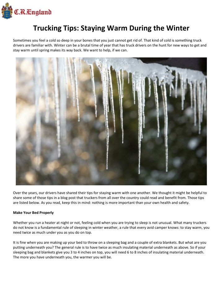 trucking tips staying warm during the winter n.