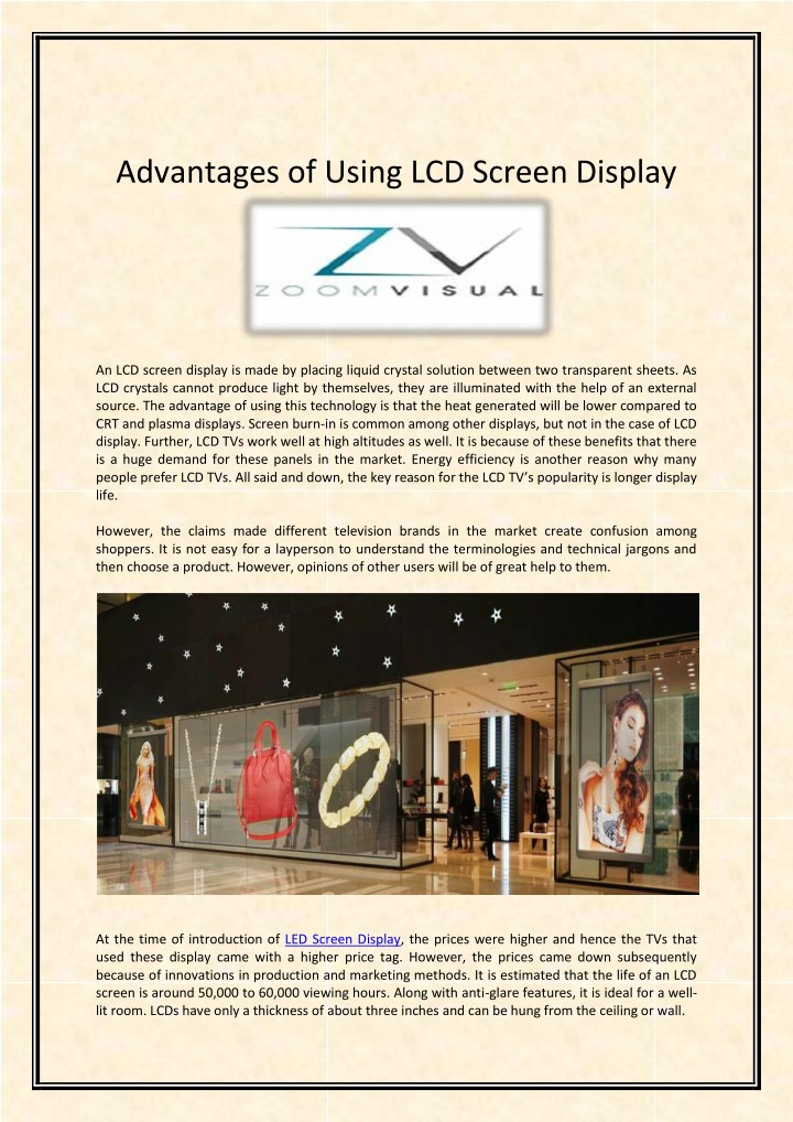 advantages of using lcd screen display n.
