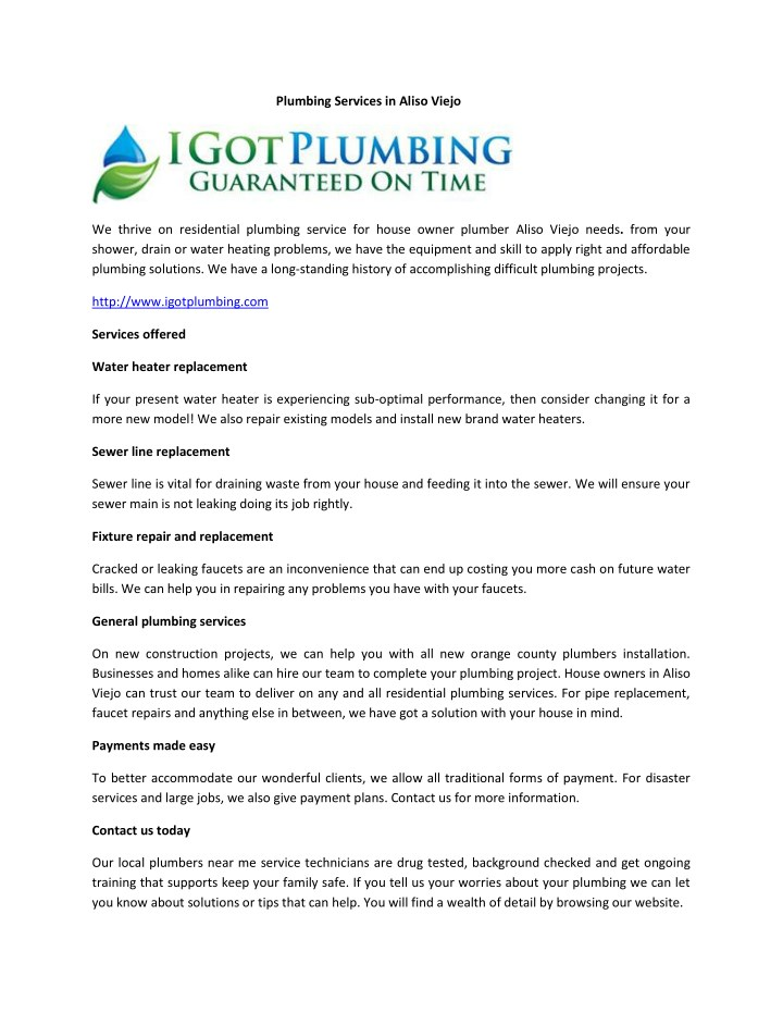 plumbing services in aliso viejo n.
