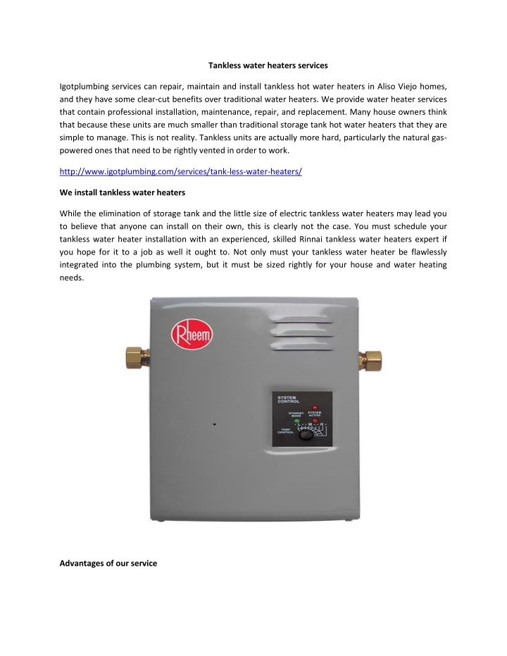 tankless water heaters services n.