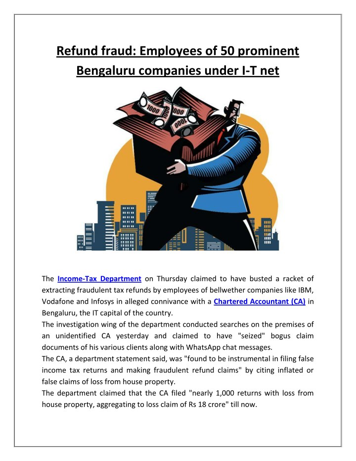 refund fraud employees of 50 prominent bengaluru n.
