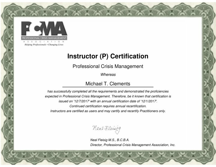 instructor p certification n.