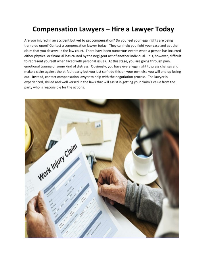 compensation lawyers hire a lawyer today n.
