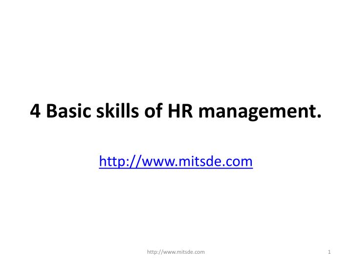 4 basic skills of hr management n.