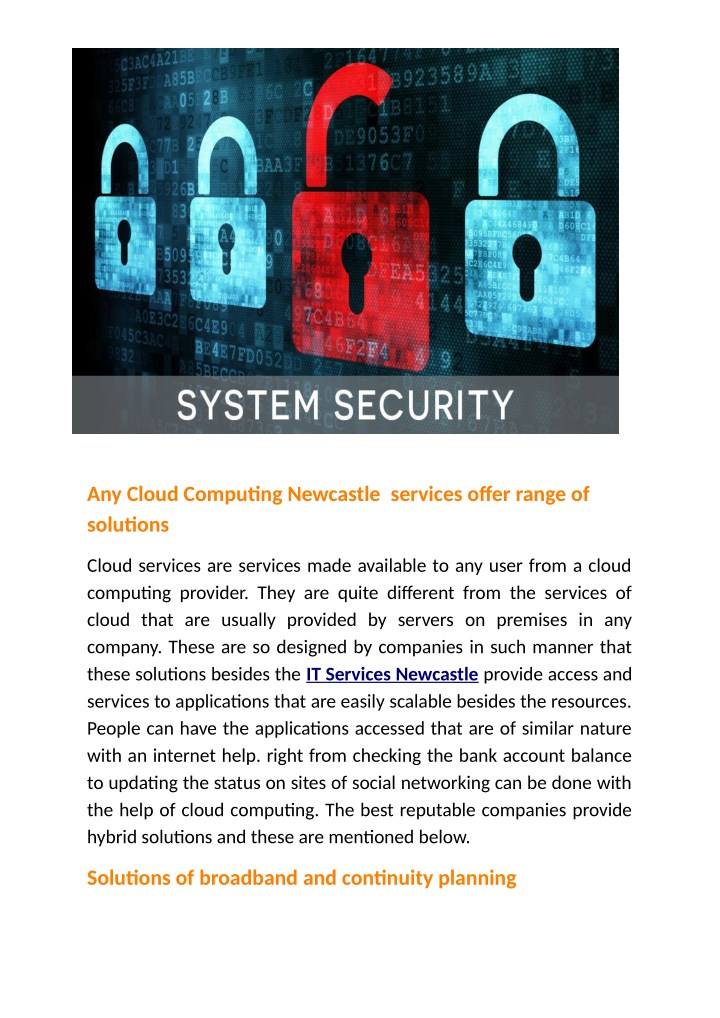 any cloud computing newcastle services offer n.