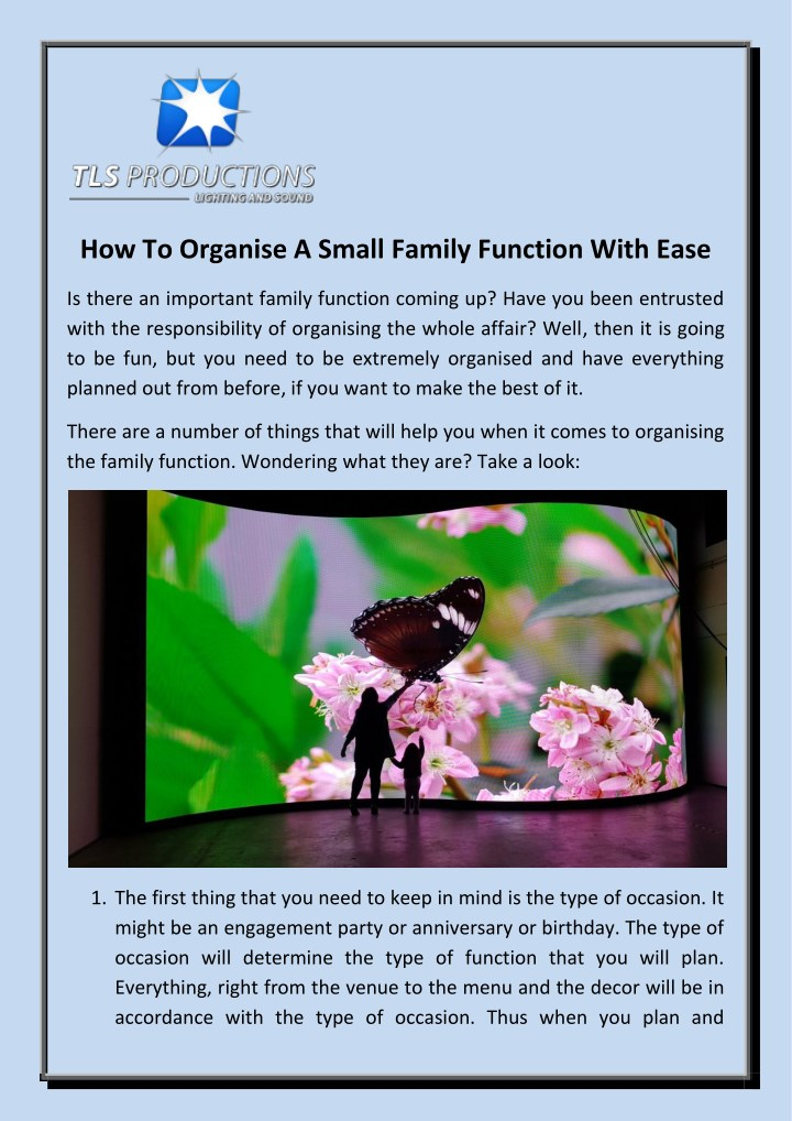 how to organise a small family function with ease n.