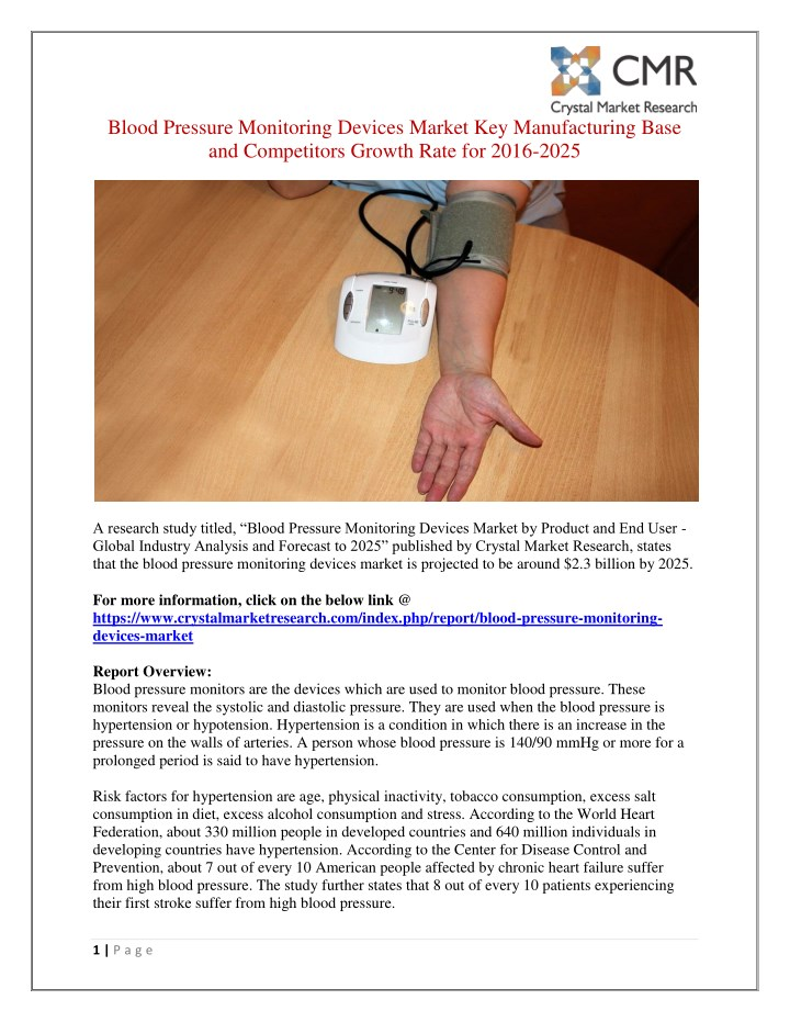 blood pressure monitoring devices market n.