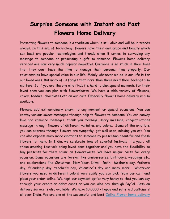surprise someone with instant and fast flowers n.