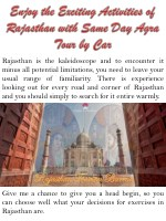 rajasthan is the kaleidoscope and to encounter