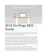2018 on page seo guide