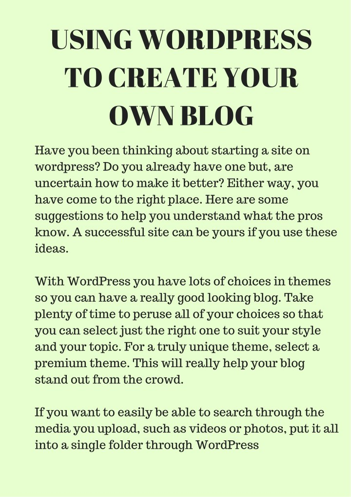 using wordpress to create your own blog n.