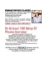 kumar physics classes e 281 basement m block main