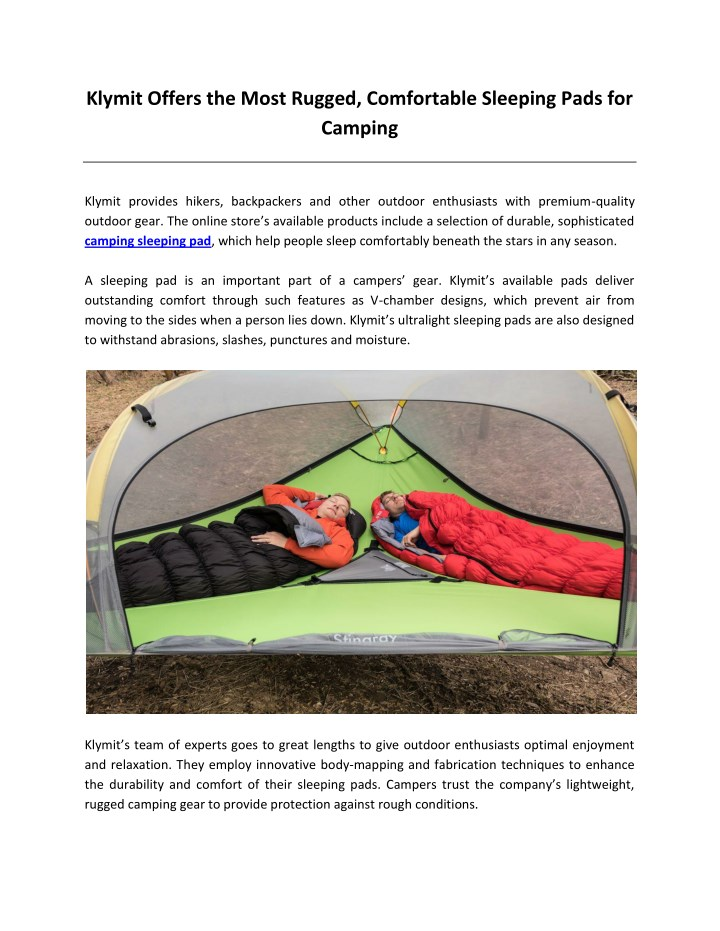 klymit offers the most rugged comfortable n.