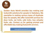 golden auto world provides key making