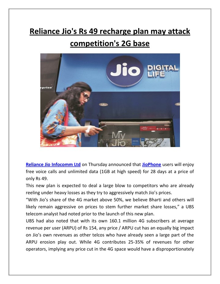 reliance jio s rs 49 recharge plan may attack n.